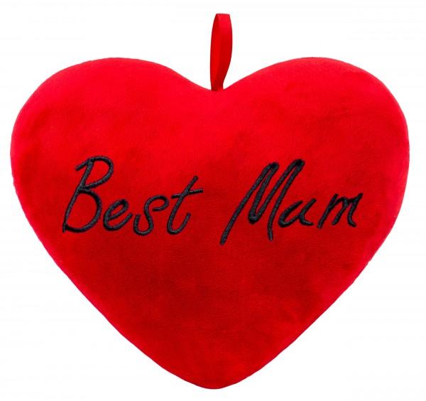 Brubaker Plüschkissen in Herzform - Best Mum - Rot 32 cm - Herzkissen Bestickt