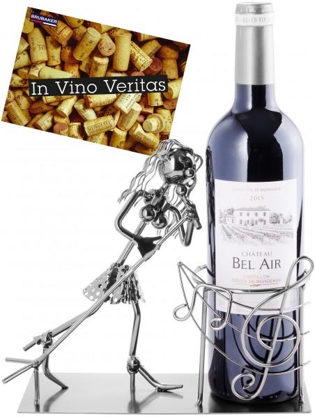 Weinflaschenhalter Sängerin - Weingeschenk Flaschenständer - Metallfigur mit Grußkarte