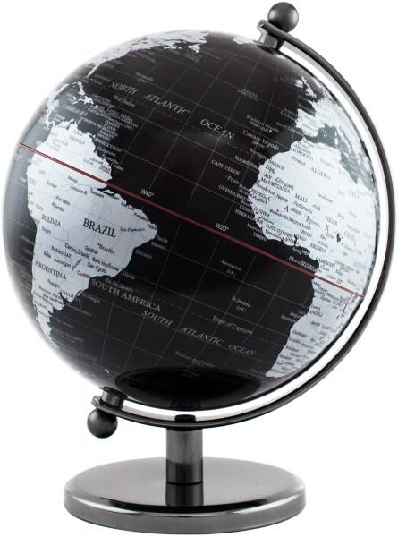 Designer Globus Dark Planet - Edelstahl - Schwarz Silber