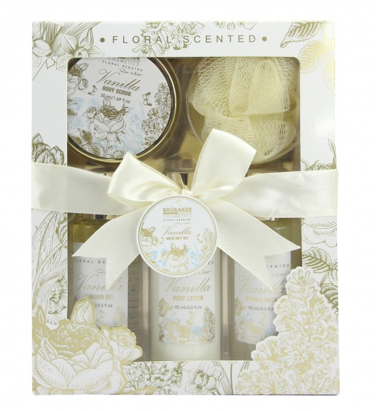 """5-teiliges Bade- und Dusch Set """"Vanilla Rose Mint"""" - Vanille Rosen Minze Duft - Geschenkset"""
