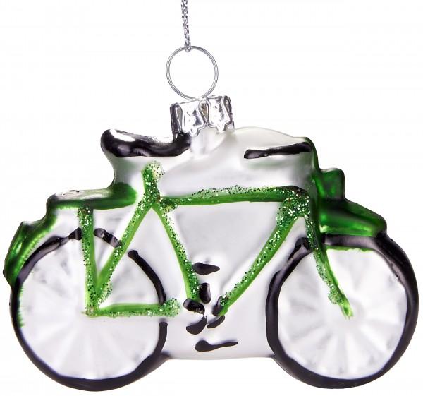 Fahrrad Grün - Handbemalte Weihnachtskugel aus Glas - Mundgeblasene Baumkugel - 7 cm