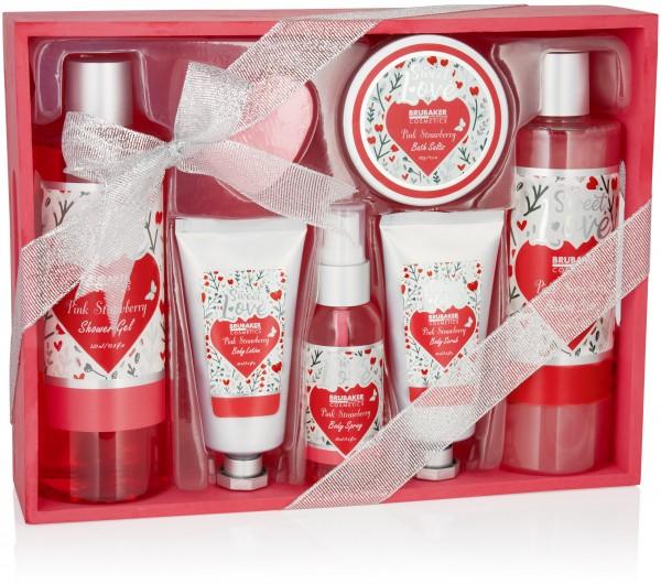 8-tlg. Bade- und Dusch Set Erdbeere Sweet Love im Deko Holzkorb mit Blumen Design