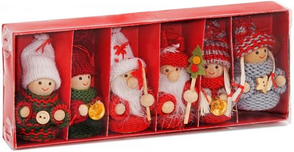 6-teiliges Set Weihnachtswichtel aus Holz und Strick Baumanhänger 8 cm in Geschenkbox