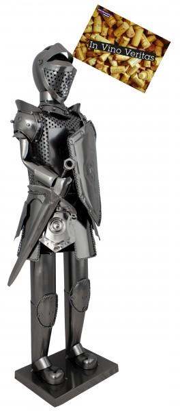 BRUBAKER XXL Flaschenhalter Ritter mit Schwert und Schild 59 cm - Flaschenständer für Wein aus Metal