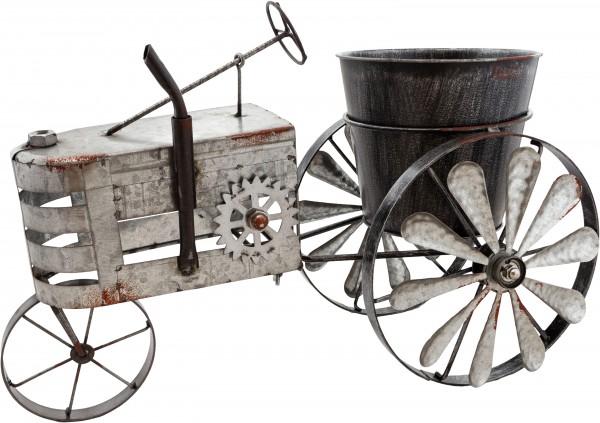 Vintage Traktor aus Metall - Silber - zum Bepflanzen - Windspiel - wetterfest