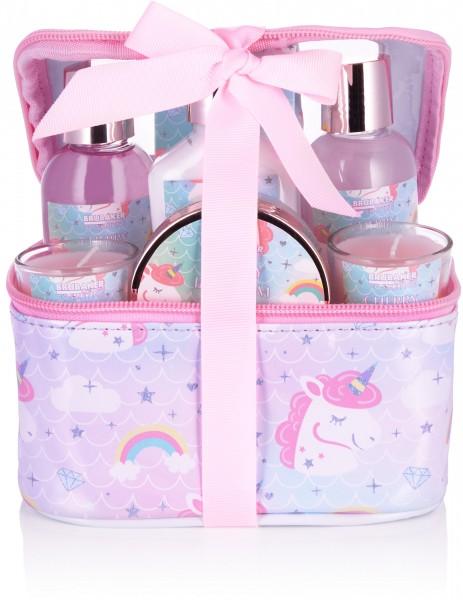 7-tlg. Einhorn Bade- und Dusch Set Cherry Blossom - inkl. 2 Duftkerzen in Kosmetikbox