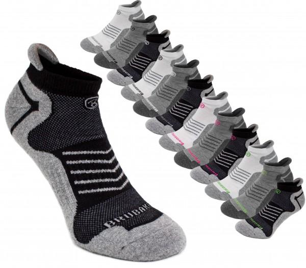 6er Pack BRUBAKER Unisex Sneaker Sportsocken grau/Hellgrau mit Logo