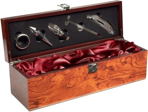 BRUBAKER Geschenk Weinset mit 1 Flasche Rotwein nach Auswahl in edler Holzbox mit Sommelierset