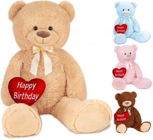 Teddybär mit Schleife 100 cm mit einem Happy Birthday Herz - Stofftier Plüschtier Kuscheltier