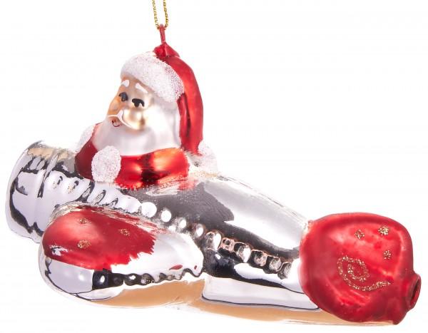 Santa im Flieger - Handbemalte Weihnachtskugel aus Glas - Mundgeblasener Christbaumschmuck - 12 cm