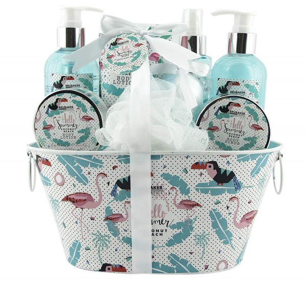 BRUBAKER Beautyset Kokosnuss Duft - 11 tlg. Geschenkset mit Badewanne - Flamingo