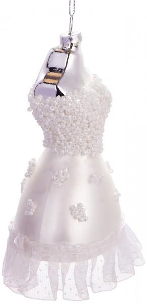 Brautkleid Weiß - Handbemalte Weihnachtskugel aus Glas - Mundgeblasener Christbaumschmuck - 12 cm