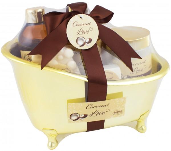 BRUBAKER Coconut Love Badeset mit Wanne goldfarben 6 -teilig