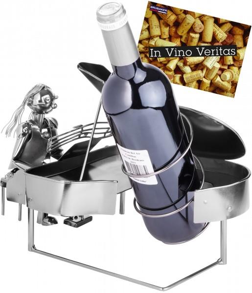 Weinflaschenhalter Pianistin am Klavier - Weingeschenk Flaschenständer - Metallfigur mit Grußkarte