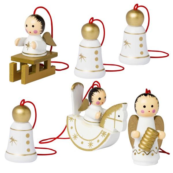 6 tlg. Set Weihnachtsbaumschmuck aus Holz - Engel und Glocken - 4,5 cm große Figuren - Handbemalt