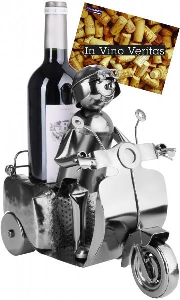Weinflaschenhalter Rollerfahrer Silber - Metall Flaschenständer - Weingeschenk mit Grußkarte