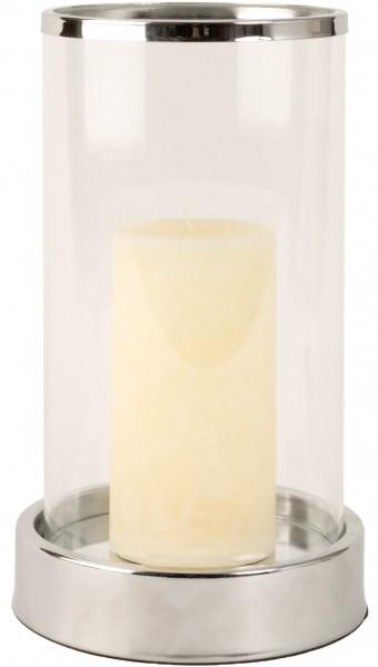 BRUBAKER modernes Glas Windlicht 25 cm Höhe, Klarglas / Metall Silber