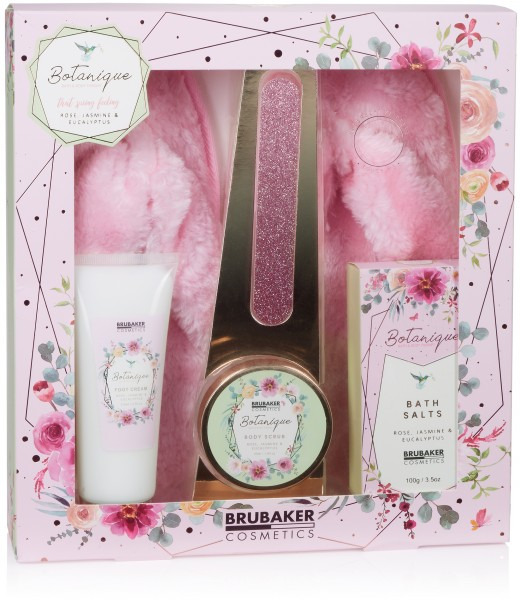 5-tlg. Bade- und Fußpflege Set inkl. 1 Paar Rosa Plüsch Slipper - mit Rose, Jasmin und Eukalyptus