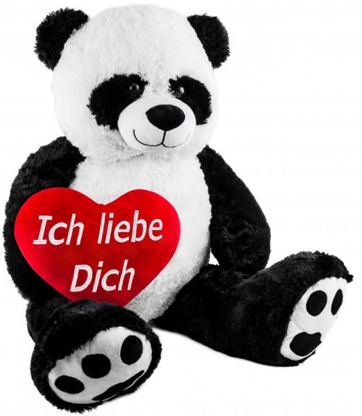 BRUBAKER XXL Panda 100 cm groß - Kuscheltier mit einem Plüschherz