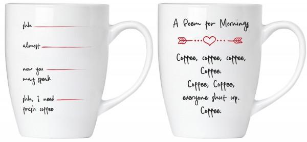 """BRUBAKER """"Shut up! I need a coffee"""" Tassen Set aus Keramik - Grußkarte und Geschenkpackung"""