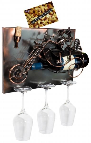 BRUBAKER Wand Flaschenhalter Paar auf einem Motorrad - Deko-Objekt für Wein aus Metal