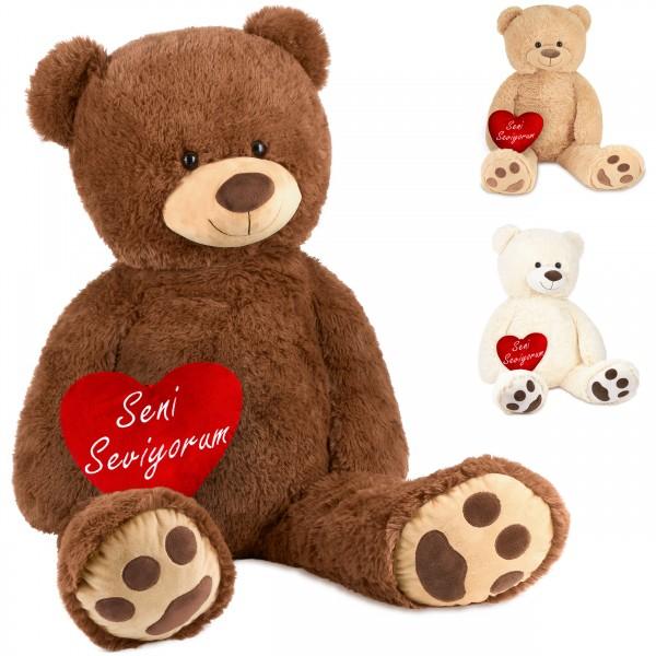 Teddybär 100 cm mit einem Seni Seviyorum Herz - Stofftier Plüschtier Kuscheltier