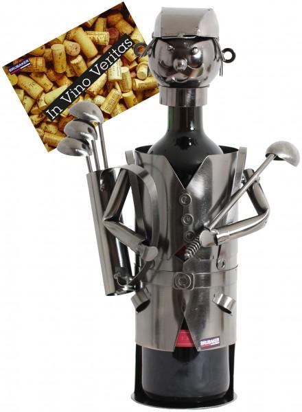 BRUBAKER Flaschenhalter Golfspieler mit Tasche Metall Skulptur Geschenk mit Geschenkkarte