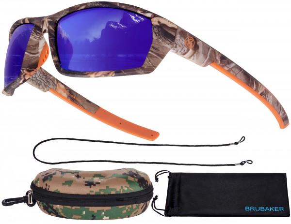 Polarisierte Camouflage Sonnenbrille für Angler und Outdoor - UV-Schutz - Blau