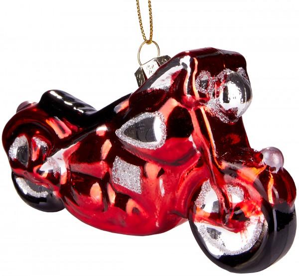 Motorrad Rot - Handbemalte Weihnachtskugel aus Glas - Mundgeblasener Christbaumschmuck - 12 cm