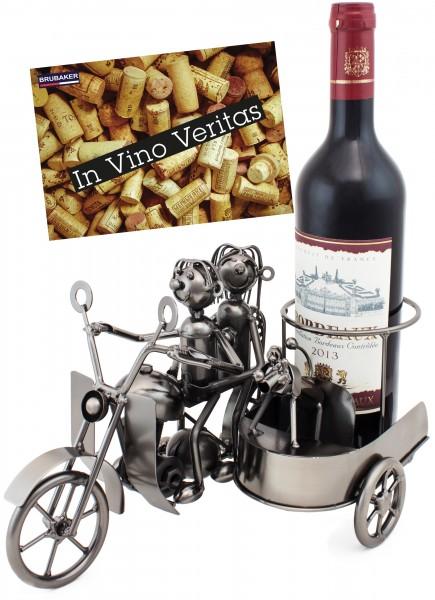 BRUBAKER Flaschenhalter Motorrad Paar mit Beiwagen und Hund - Metall Skulptur mit Geschenkkarte
