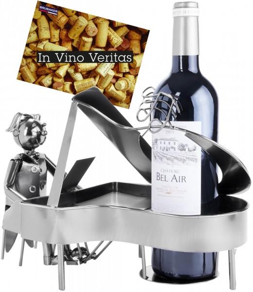 BRUBAKER Wein Flaschenhalter Klavierspieler Metall Skulptur mit Geschenkkarte
