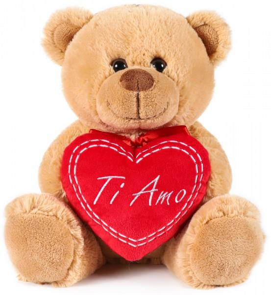 Teddy Plüschbär mit Herz - Ti Amo - Kuscheltier Schmusetier - 25 cm