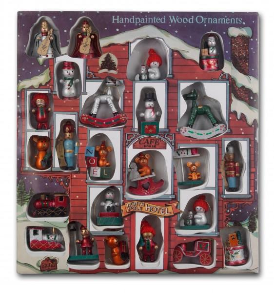 24 tlg. Set Weihnachtsbaumschmuck aus Holz - Bis zu 7,5 cm große Figuren - Handbemalt