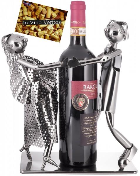 Weinflaschenhalter 'Tanzendes Liebespaar - Skulptur Metall - Flaschenständer - mit Grußkarte