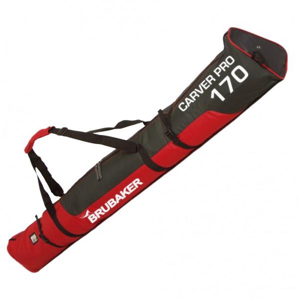 BRUBAKER Skisack - 170 cm und 190 cm - Gepolsterte Skitasche mit Zipperverschluss Rot / Schwa