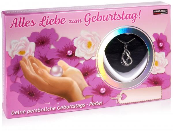 BRUBAKER Wunschperle Geburtstag - Halskette mit Helix Anhänger + Muschel mit echter Perle