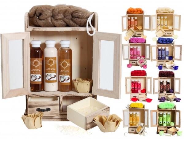BRUBAKER Cosmetics Bade- und Pflegeset im Holzschrank, 10-teilig