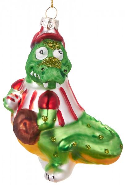 Baseball Krokodil - Handbemalte Weihnachtskugel aus Glas - Mundgeblasener Christbaumschmuck - 11 cm