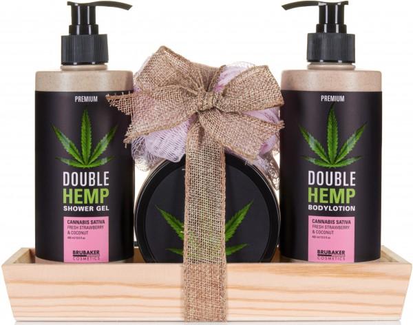Hanföl Dusch- und Pflege Set frische Erdbeeren & Kokosnuss mit Deko Tablett aus Holz