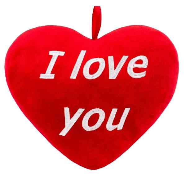 Brubaker Plüschkissen in Herzform - I Love You - Rot 32 cm - Herzkissen Bestickt
