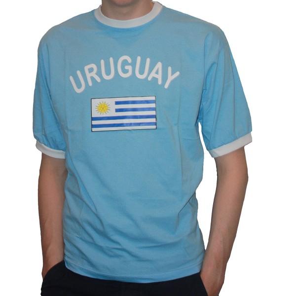 BRUBAKER Herren oder Damen Uruguay Fan T-Shirt Blau