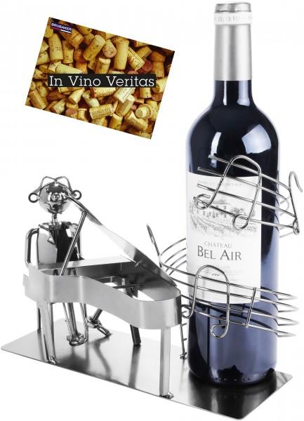 BRUBAKER Flaschenhalter Pianist mit Flügel - Flaschenständer aus Metall mit Grußkarte