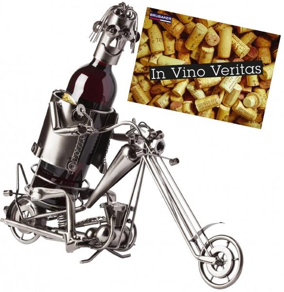BRUBAKER Flaschenhalter Motorradfahrer Metall Skulptur Geschenk mit Geschenkkarte