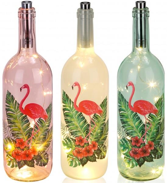 Lichterflasche Flamingo mit Palmen - 10 LEDs - Dekoflaschen - Flaschenlicht - 34,7 cm Höhe