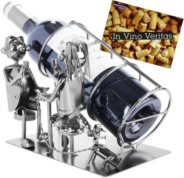 BRUBAKER Flaschenhalter Paar mit Hund - Flaschenständer aus Metall mit Grußkarte