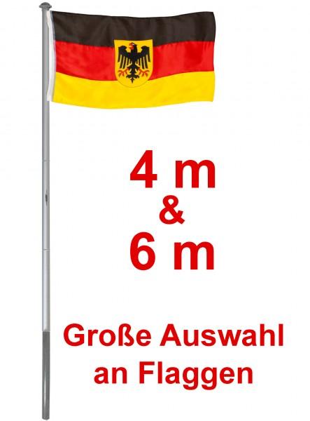 BRUBAKER Aluminium Fahnenmast mit Bodenhülse inklusive Deutschland Flagge + Flagge Ihrer Wahl