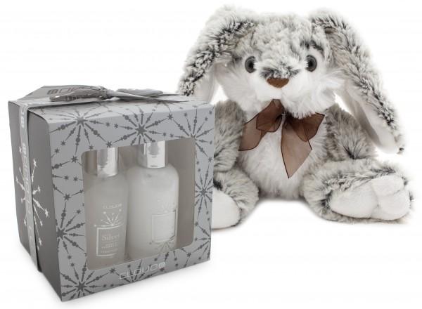 4-teiliges BRUBAKER Cosmetics Bade-Geschenkset silber mit flauschigem Plüschhasen