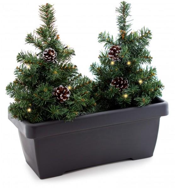 balkon blumenkasten brubaker mit ka 1 4 nstlichen weihnachtsbaumen weihnachtsbeleuchtung 2x tannenbaum bepflanzung