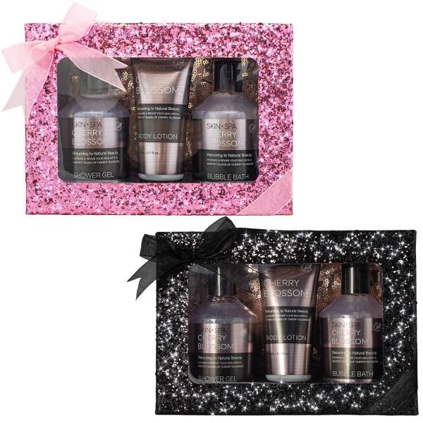 BRUBAKER Beautyset Cherry Blossom Skin + Spa - 4 tlg. - Kirschblüten Duft - Glitzer Geschenkbox