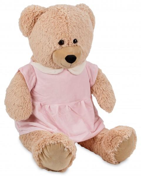 Bärenmädchen mit rosa Kleid - 100 cm - Beige - Stofftier